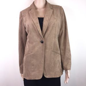 Chico's Tan Faux Suede One-Button Blazer Jacket